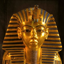 Close up of gold funerary mask, pharaoh Tutankhamun, Valley of the Kings, Egypt