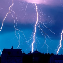 Lightning fills the night sky near Walton