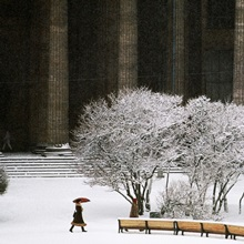 Snow scene with the neoclassic columns of Kazan Cathedral, Saint Petersburg, Russia