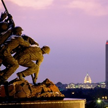 The Iwo Jima monument, Licoln Memorial, Washington Monument, and US Capitol, Arlington, Virginia