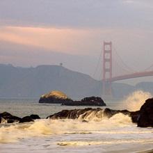 View of the Golden Gate Bridge from Baker Beach, San Francisco, California