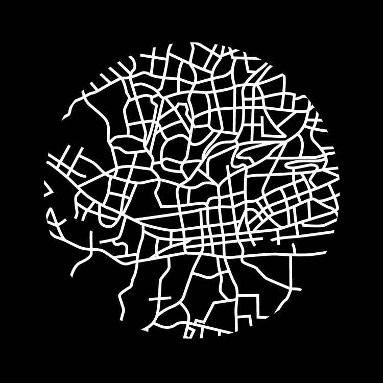 Johannesburg Street Map Black Great Big Canvas