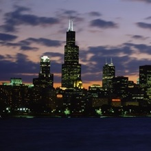 Buildings in a city at dusk, Chicago, Illinois