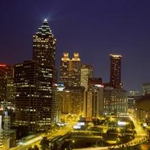 Buildings lit up at night, Atlanta, Georgia