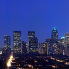 Buildings lit up at night in a city, Comcast Center, Center City, Philadelphia, Philadelphia County, Pennsylvania