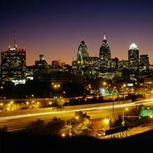 Buildings lit up at night, Philadelphia, Pennsylvania
