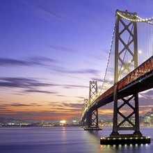 California, San Francisco, Bay Bridge, twilight