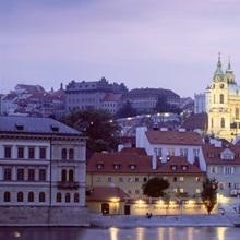 Castle lit up at dusk, Hradcany Castle, Prague, Czech Republic