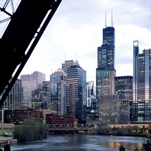 City at the waterfront, Chicago River, Chicago, Cook County, Illinois,