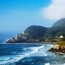 Coastal Scene In Mist With Heceta Head Lighthouse