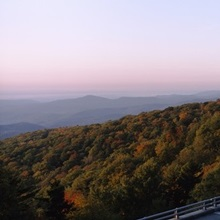 Curved road over mountains, Linn Cove Viaduct, Blue Ridge Parkway, North Carolina