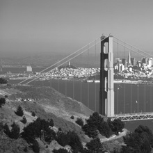 High angle view of a suspension bridge across the sea, Golden Gate Bridge, San Francisco, California
