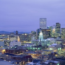 High angle view of the State Capitol Building and downtown, Denver, Colorado