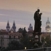 Lit up bridge at dusk, Charles Bridge, Prague, Czech Republic