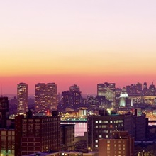 Pennsylvania, Philadelphia, aerial, twilight