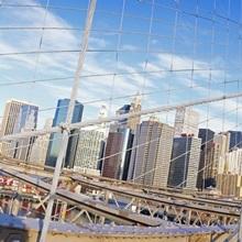 Railings of a bridge, Brooklyn Bridge, Manhattan, New York City, New York State, USA, (pre Sept. 11, 2001)