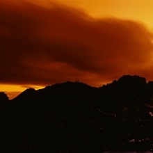 Silhouette of rocks and trees at sunset, Tofino, Vancouver Island, British Columbia, Canada