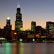 Skyline at dusk Chicago IL