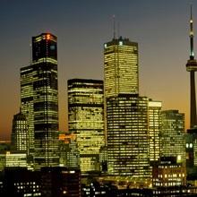 Skyscrapers lit up at dusk, Toronto Eaton Centre, Toronto, Ontario, Canada