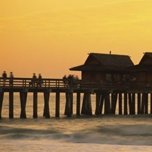 Stilt houses on the pier, Gulf of Mexico, Naples, Florida
