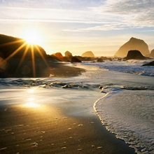 Sunset Over Beach Scene