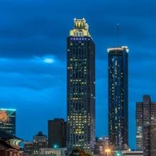 Atlanta, Georgia city skyline at night