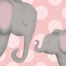 Elephant Mommy and Baby on Pink