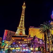Las Vegas Strip - Eiffel Tower and Hot Air Balloon