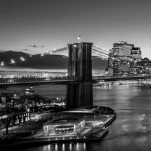 New York City Skyline with Brooklyn Bridge in Foreground, Evening, Black and White