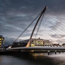 Samuel Beckett Bridge at Sunset, Dublin, Ireland, UK - Panoramic