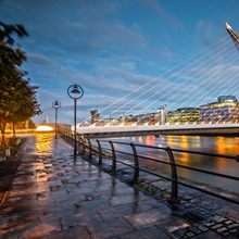 Samuel Beckett Bridge Lit Up at Dusk, Dublin, Ireland, UK