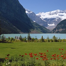 Lake Louise with the Rocky Mountains in the background, in Alberta, Canada