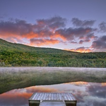 Mollys Falls Pond at sunset, Vermont, New England