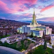 Bountiful Utah Temple, Sunset Across the Valley, Bountiful, Utah
