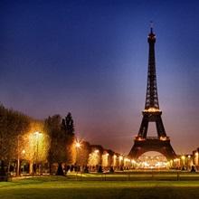 The Eiffel Tower at sunrise, Paris, France