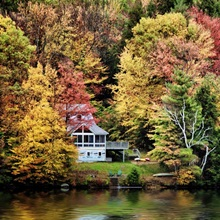 Trees and lake with fall color in Vermont