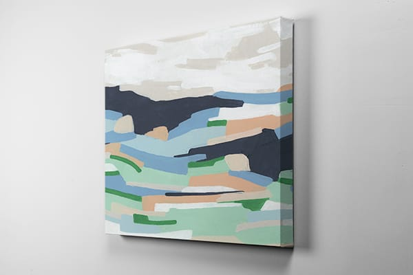 Abstract canvas art print hanging on a wall