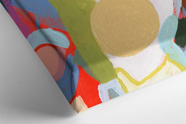 Closeup of stretched canvas art print showing off neatly wrapped corners